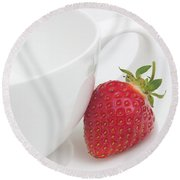 Teatime Strawberry Round Beach Towel