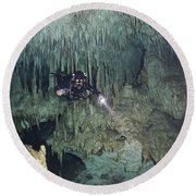 Technical Diver In Cave System, Mexico Round Beach Towel