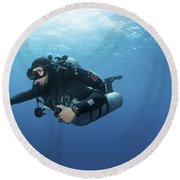 Technical Diver With Equipment Swimming Round Beach Towel