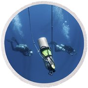 Technical Divers Ascend Near A Nitrox Round Beach Towel by Karen Doody