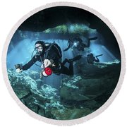 Technical Divers Enter The Cavern Round Beach Towel by Karen Doody