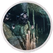 Technical Divers In Dreamgate Cave Round Beach Towel