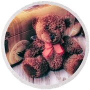 Teddy Bear And Suitcase Round Beach Towel