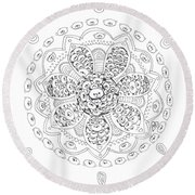 Teddy Bear Mandala Round Beach Towel