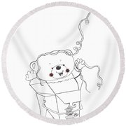 Teddy Bear Noodles Round Beach Towel