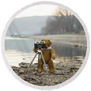 Teddy Bear Taking Pictures With An Old Camera By The Riverside Round Beach Towel
