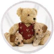 Teddy Bear With Puppies Round Beach Towel by Jane Burton