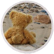 Teddy On A Beach Round Beach Towel