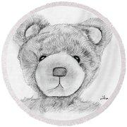 Teddybear Portrait Round Beach Towel
