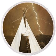 Tee Pee Lightning Round Beach Towel