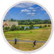 Teeing Off At Leeds Castle Round Beach Towel