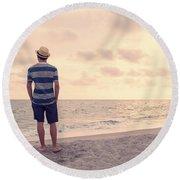 Teen Boy On Beach Round Beach Towel