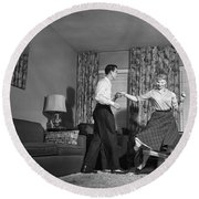 Teen Couple Dancing At Home, C.1950s Round Beach Towel
