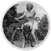 Teeng Girl Riding Bike On Sidewalk Round Beach Towel