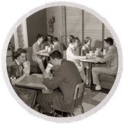 Teens At A Diner, C. 1950s Round Beach Towel