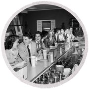 Teens At Soda Fountain Counter, C.1950s Round Beach Towel
