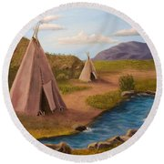Teepees On The Plains Round Beach Towel