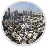 Tel Aviv And Ramat Gan Israel Round Beach Towel