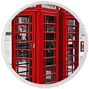 Telephone Boxes In London Round Beach Towel