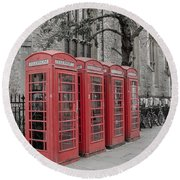 Telephone Boxes Round Beach Towel