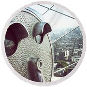 Telescope In Nyc Round Beach Towel