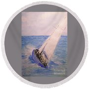 Tell Tails In The Wind Round Beach Towel