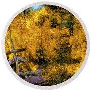 Telluride Spirituality - Colorado - Autumn Aspens Round Beach Towel