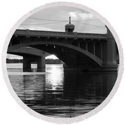 Tempe Town Lake Bridge Black And White Round Beach Towel
