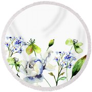 Template For Card With Decorative Wild Flowers Round Beach Towel