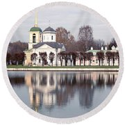 Temple And Bell Tower Round Beach Towel