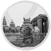 Temple Architecture Round Beach Towel