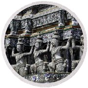 Temple Detail In Bangkok Thialand Round Beach Towel