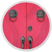 Temple Doors Round Beach Towel
