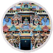 Temple Facade Chennai India Round Beach Towel