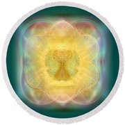 Temple Fire Chalice Round Beach Towel