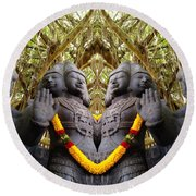 Temple God Round Beach Towel
