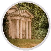 Kew Gardens, England - Temple Of Bellona Round Beach Towel by Mark Forte