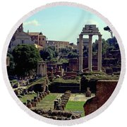 Temple Of Castor And Pollux Round Beach Towel
