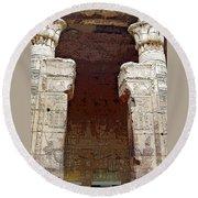Temple Of Edfu I Round Beach Towel