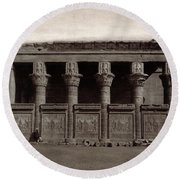Temple Of Hathor, Early 20th Century Round Beach Towel