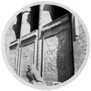 Temple Of Horus Round Beach Towel