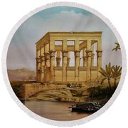 Temple Of Isis On The Nile River Round Beach Towel