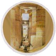 Temple Of Karnak  2 Round Beach Towel