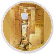 Temple Of Karnak  Round Beach Towel