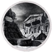 Temple Of Perseus Round Beach Towel