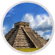 Temple Of The Feathered Serpent Round Beach Towel