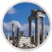 Temple Of Trajan View  Round Beach Towel