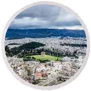 Temple Of Zeus - View From The Acropolis Round Beach Towel
