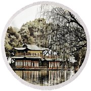 Temple On The Lake Round Beach Towel