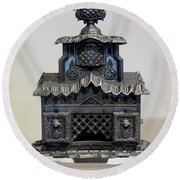 Temple Parlor Stove Round Beach Towel